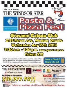13th Annual Windsor Star Pasta and Pizza Fest Poster