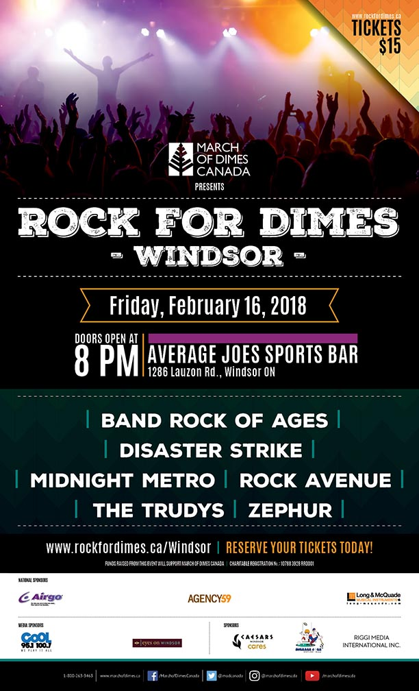 Rock For Dimes 2018 Windsor Poster