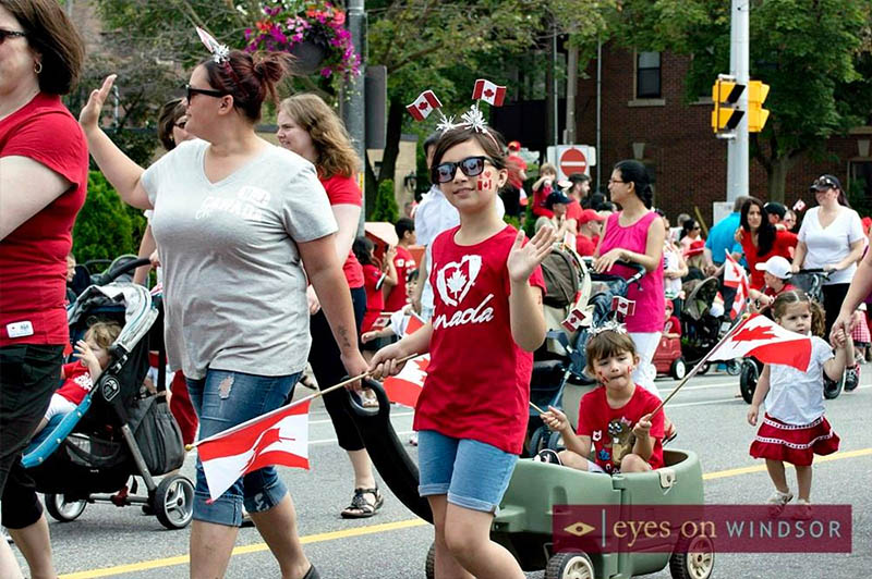 Children marching in the Canada Day Parade in Windsor, Ontario.