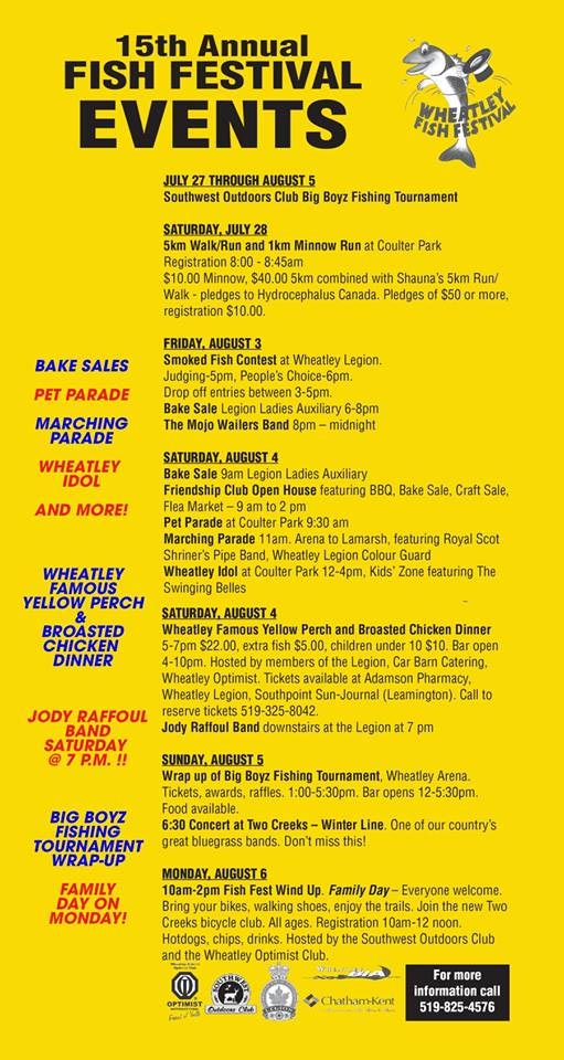Wheatley Fish Festival Poster and Schedule of Events