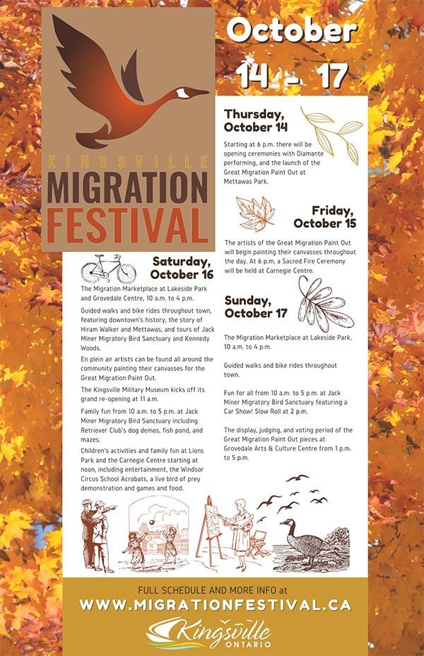 Kingsville Migration Festival Schedule of Events