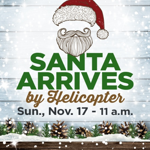Santa Arrives by Helicopter at Devonshire Mall Poster