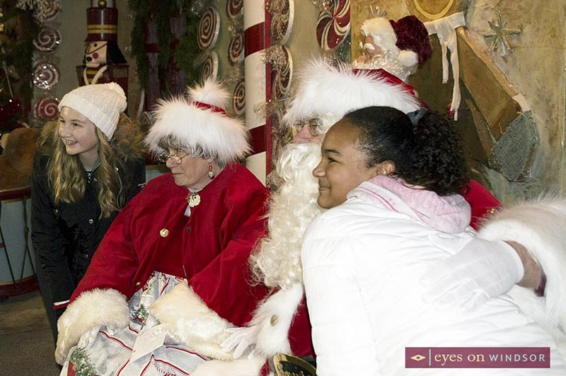 Santa & Mrs. Claus visit with children in the Gingerbread Warming House located in Toddy Jones Park in Amherstburg.