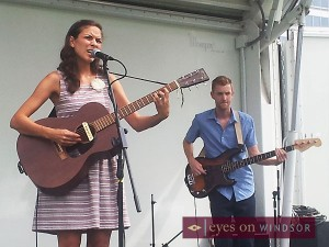 Crissi Cochrane and Michael Hargreaves performing at Windsor's waterfront