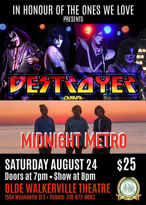 KISS Tribute Destroyer Canada WSG Midnight Metro in Concert Poster Supporting In Honour of The Ones We Love
