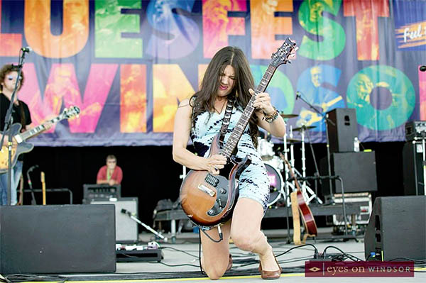 Christine Campbell Shreds Guitar during performance at Bluesfest Windsor