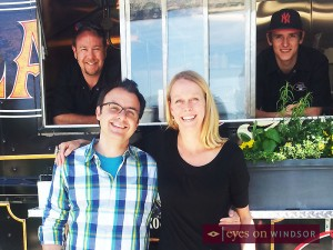 You Gotta Eat Here TV show host John Catucci outside Jack's Gastropub while taking a break from filming an episode and grabbing a bite to eat from The Blackjack Gastrovan. Also in this photo is Kim Loop and John Neill.