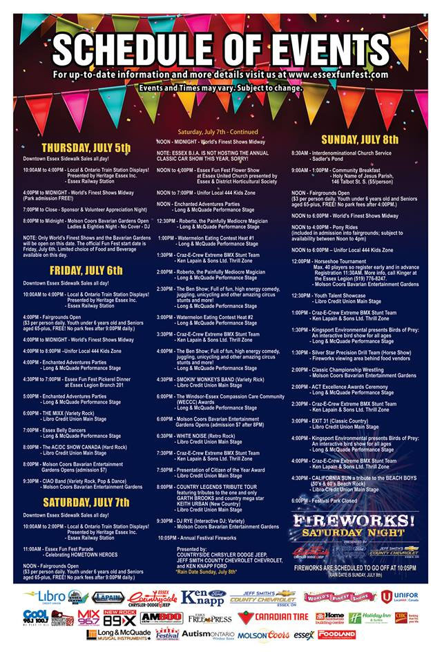 Essex Fun Fest Schedule of Events