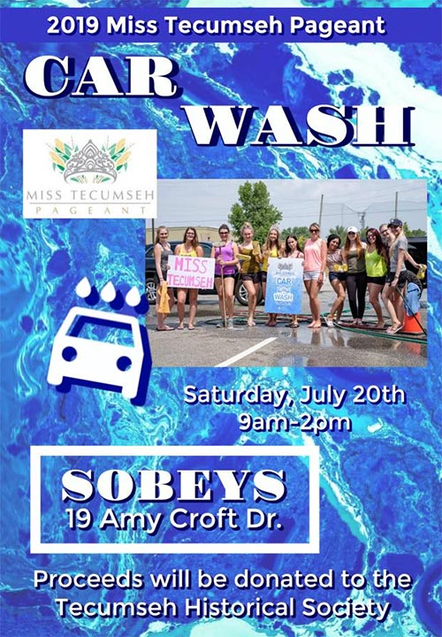 Miss Tecumseh Pageant Charity Car Wash Poster