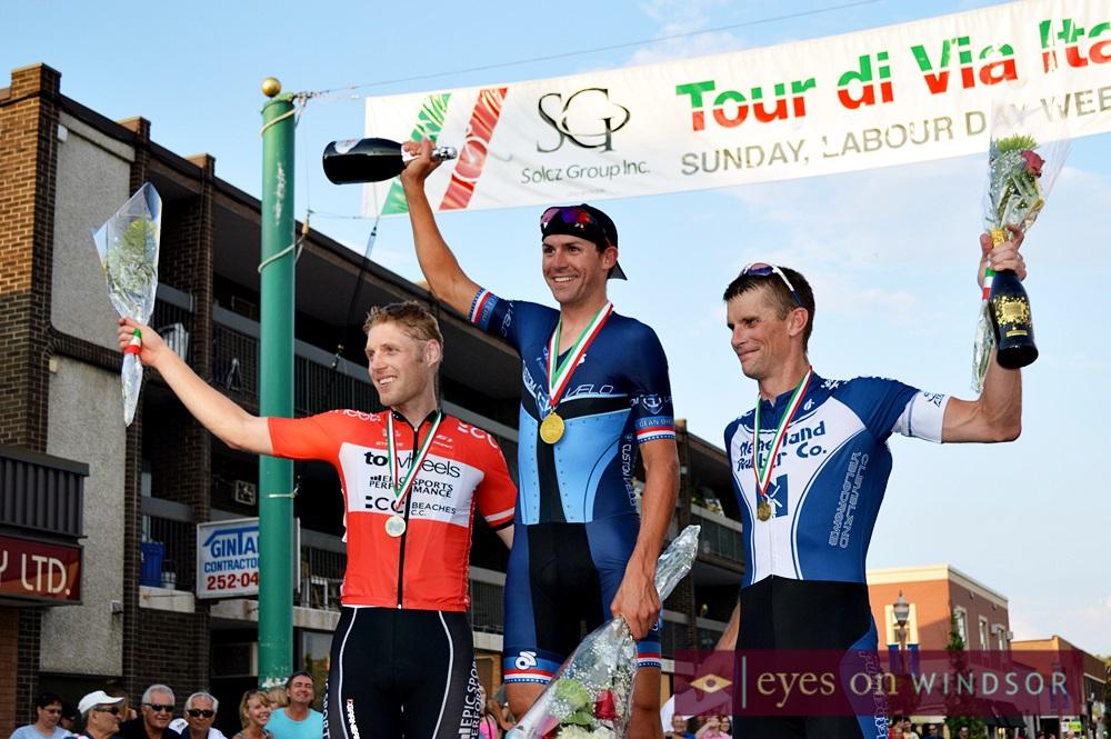 Tour di Via Italia Pro Winners Take The Podium. First Bobby Lea, second Jeff Shiller, and Jeff Martin.