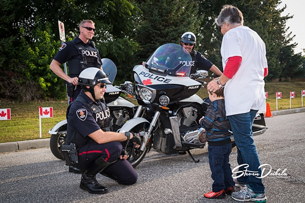Trott with the Troops 2014: Windsor Police Cst. Dave Polachok, Cst. Mark Kloppenburg, and Cst. Brad Rivett with Hunter & Carol Boroski