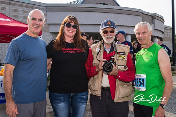 Windsor Police Chief Al Frederick, Superstore Manager Tonay Ridley, Photographer Spike Bell, and Reverend Kim Gilliland at Trot With The Troops 2014