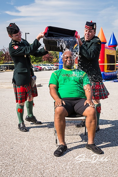 Drum Magor Xavier Allen takes Ice Bucket Challenge with Pipe Major Peter Olsen, and Drummer Jim Carr of the Essex and Kent Scottish Pipes and Drums Band at 4th Annual Trot With The Troops