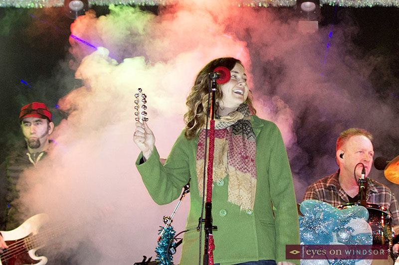 Kelly Prescott performing while the CP Holiday Train makes a stop in Windsor, Ontario.