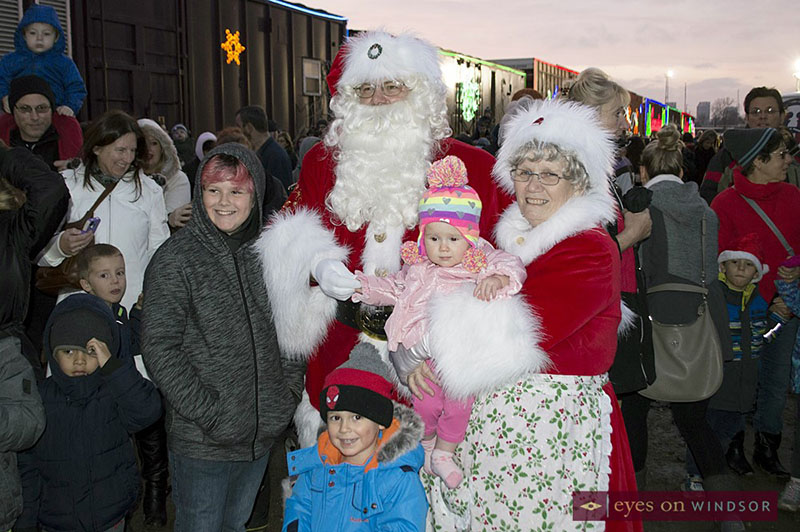 Santa and Mrs. Claus visit with children during the CP Holiday Train Stop in Windsor, Ontario.