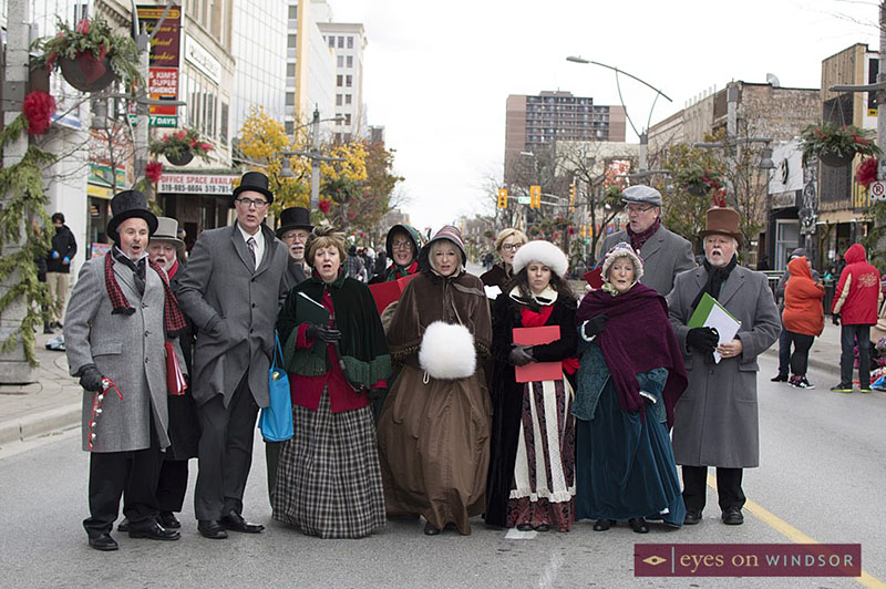 Christmas Carolers from the Windsor Light Music Theatre during Windsor's Winterfest Parade.