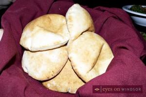 Freshly baked pita bread.