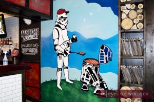 Wall painting of Stormtrooper BBQ-ing Burger
