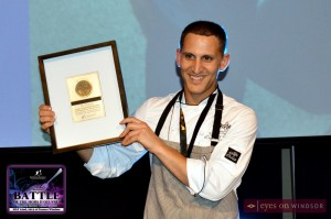 Chef Johnny Oran from Parkside Grill accepts award during Battle of The Hors D'ouvres at Caesars Windsor.