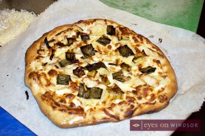 Specialty Irish potato pizza made with Brew's barley dough served on St. Patrick's Day.