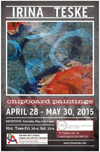 Chipboard Paintings Art Exhibit at Leamington Arts Centre with artist Irina Teske