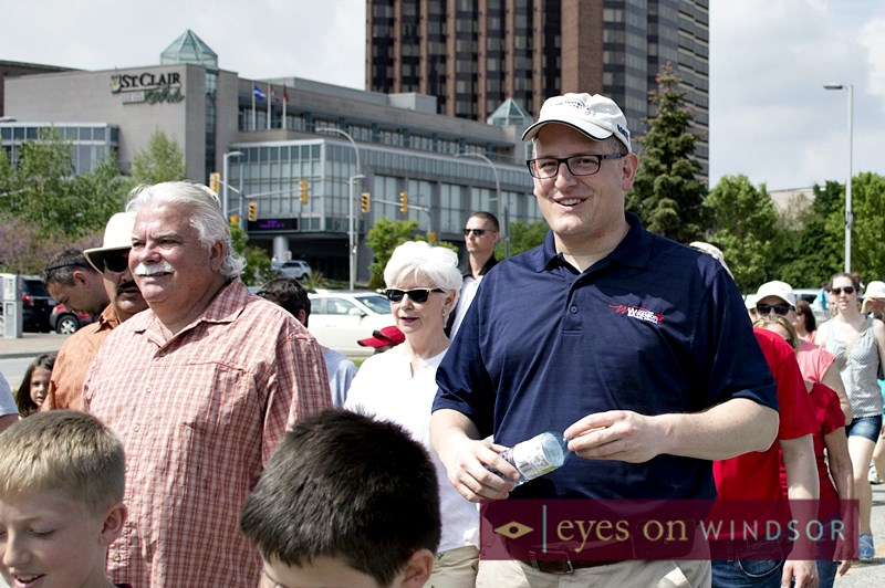 Mayor Drew Dilkens, Windsor-Tecumseh MPP Percy Hatfield, City Councillor Jo-Anne Gignac walking.