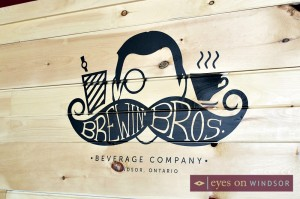 Brewin' Bros Logo on wall inside the cafe.