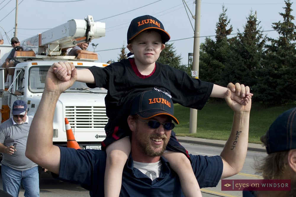 LiUNA 625 member and son march in Windsor Labour Day Parade.