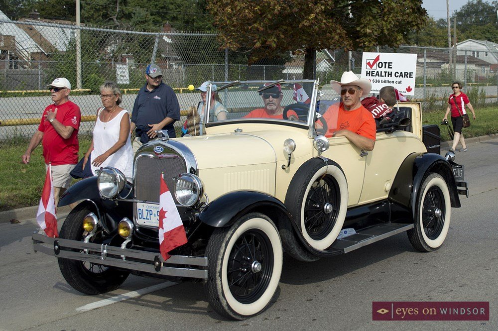 Antique car in Labour Day Parade.