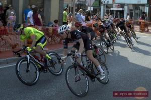 cyclists take the turn during race