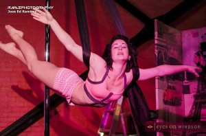 Alexandra Michelle, co-owner of Vertika Pole Fitness Studio, performs at Deliria.