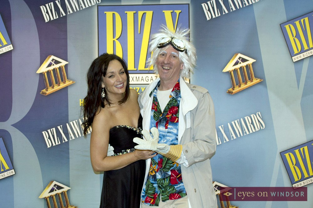 Deb McVeety of Tecumseh Mall with Doc Brown (Mark Lefebvre) at the Biz X Awards Gala.