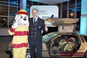 Sparky's Toy Drive at Biz X Awards in front of DeLorean Time Machine