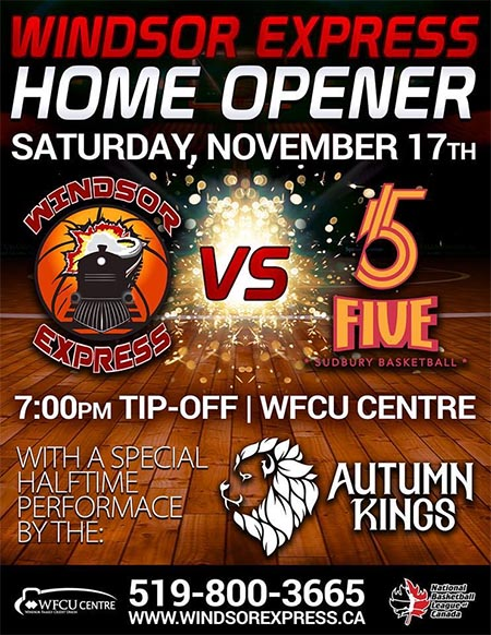 Windsor Express Basketball Home Opener Poster
