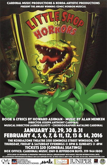 Little Shop of Horrors poster for Kordazone production in Windsor