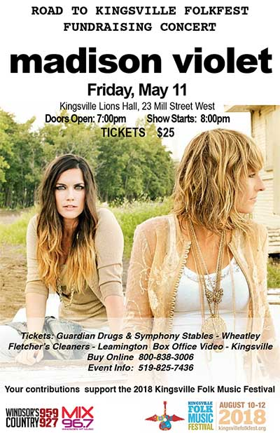 Road To Kingsville Folk Fest Concert Series Poster For Madison Violet