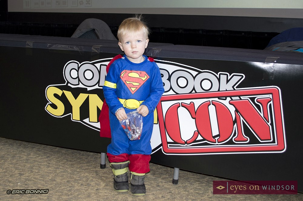 Young boy dressed as Superman at Comic Book SyndiCON
