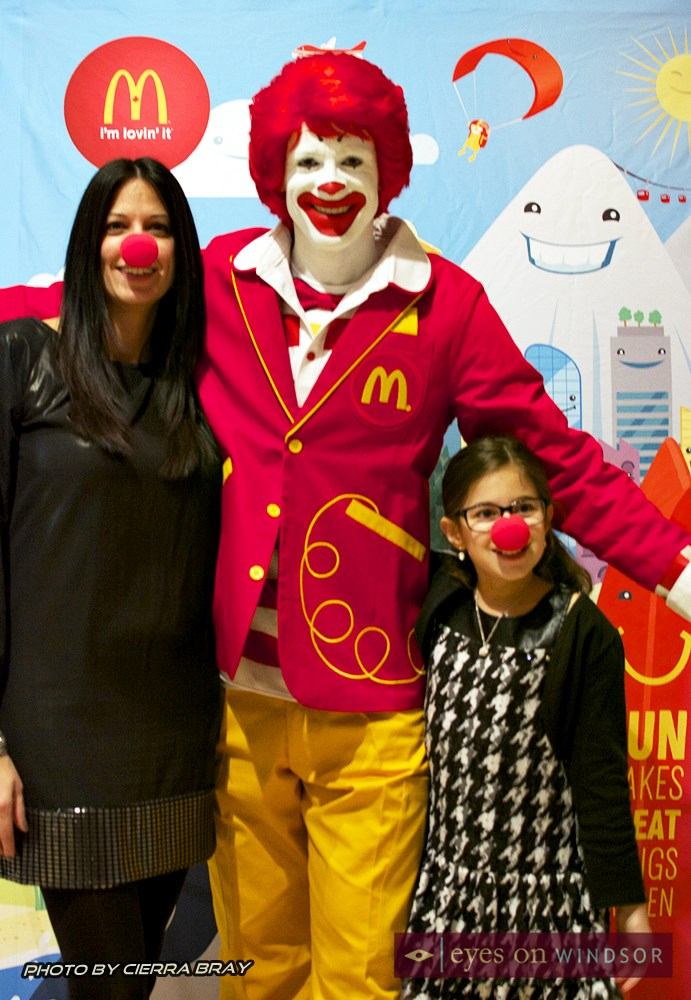Ronald McDonald with mother and daughter.