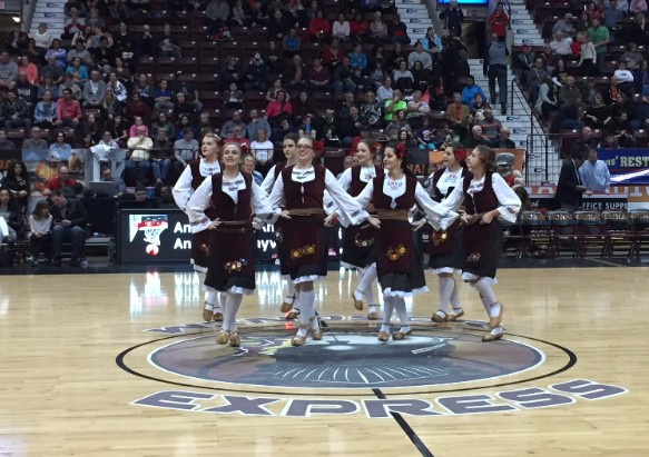 Young ladies performing during Multicultural Night at Windsor Express Game.
