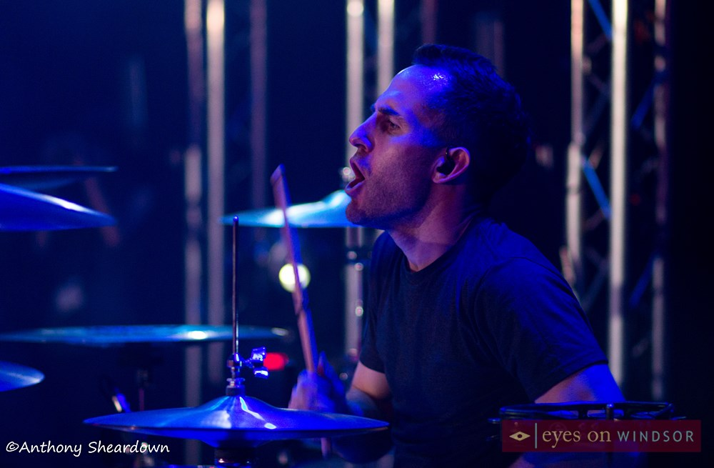 Simple Plan drummer Chuck Comeau performing in Windsor, Ontario.