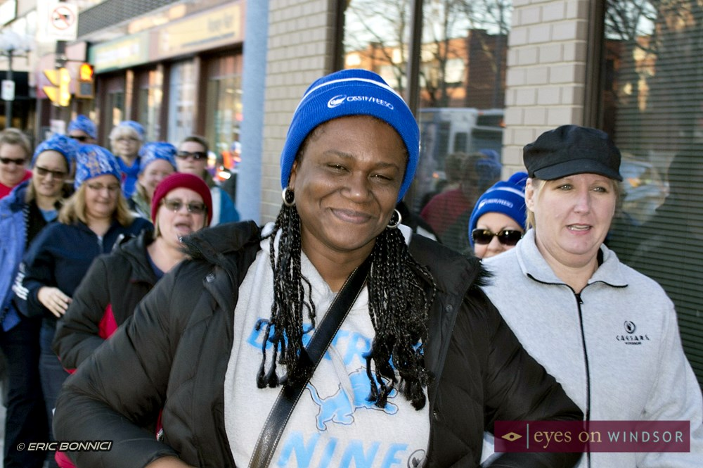 Irene Taylor smiles for the camera during the Coldest Night of The Year Walk in downtown Windsor.