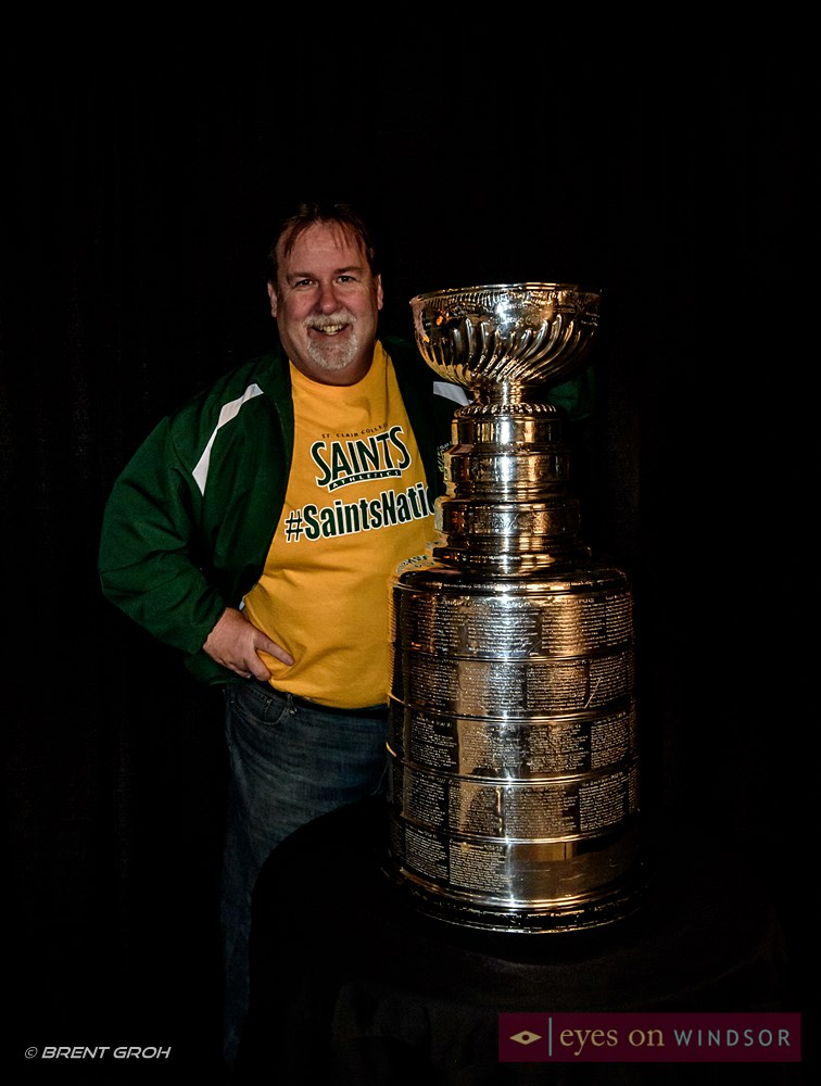 St. Clair College's John Fairley with the Stanley Cup.