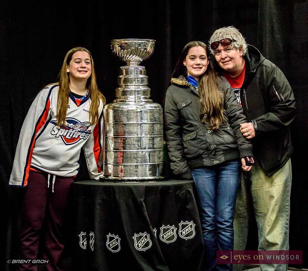 Sean Westlake and his daughters with the Stanley Cup.