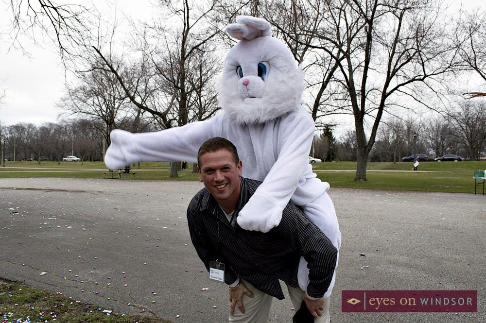 Breakthrough Walls Church Pastor Jonathan Nantais with the Easter Bunny (Josh Tomes).