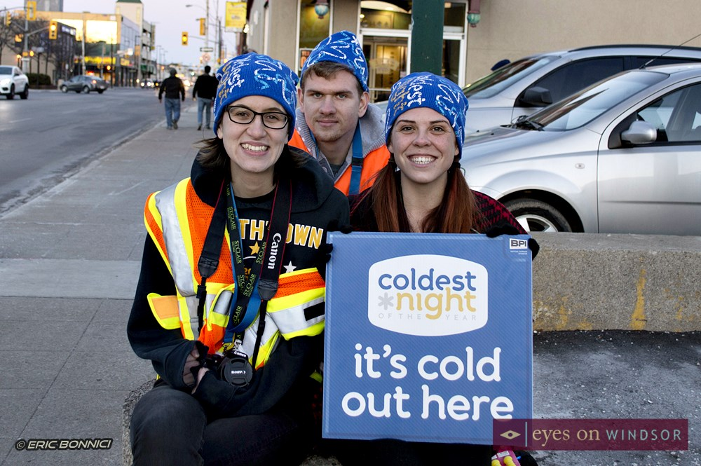 Coldest Night of The Year Walk Volunteers in Windsor ( Kati Panasiuk and two others).