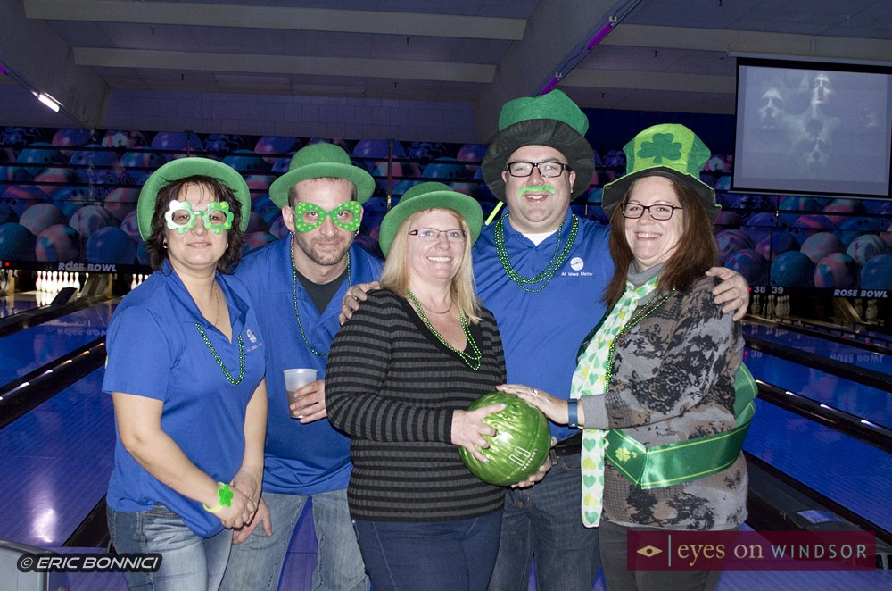 Bowling team dressed in St. Patrick's Day costumes during Bowl For Kids Sake in Windsor.