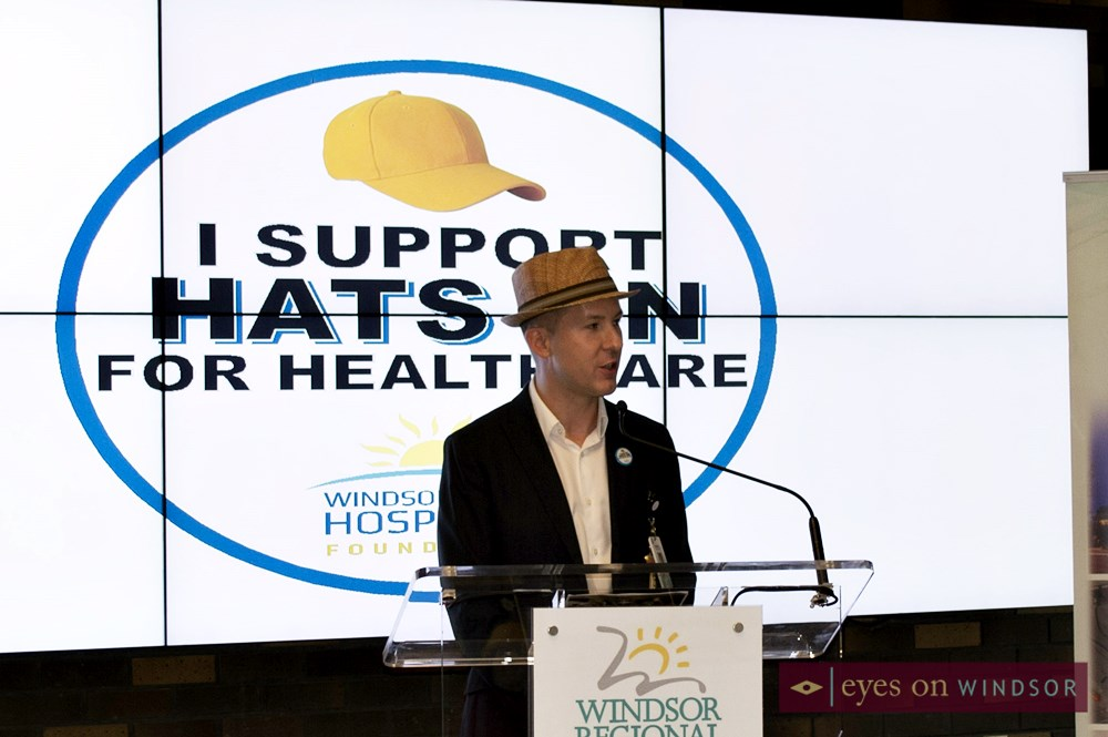 Speaker during Hats on for Health Care Day