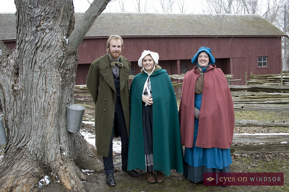 Pioneers at John R. Park Homestead during Maple Syrup Festival.