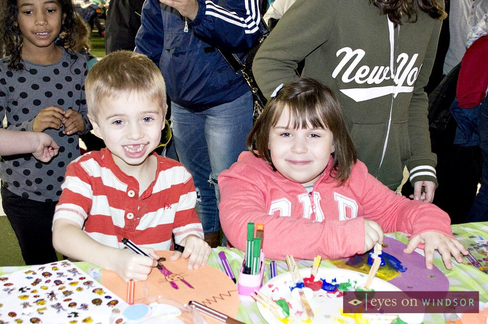 Children enjoy making crafts at Easter Egg Hunt.