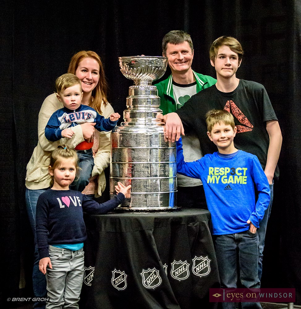 Family excited to be photographed with the Stanley Cup.